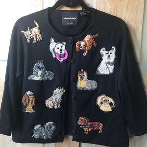 Michael Simon New York embroidered dog cardigan